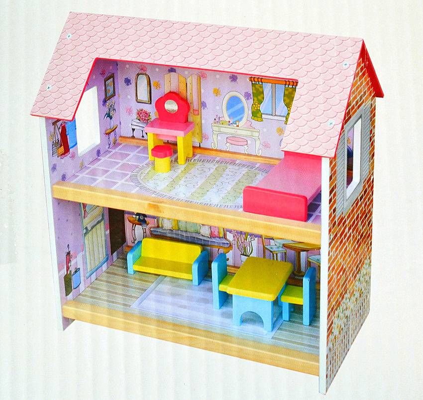 NEW-Kid-Pretend-Play-Toy-Wooden-Doll-House-My-Dream-Doll-House
