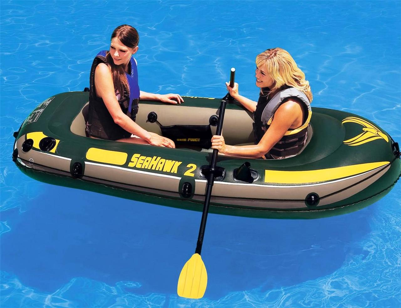 New-Intex-Inflatable-SeaHawk-2-Person-Fishing-Boat-Raft-Set