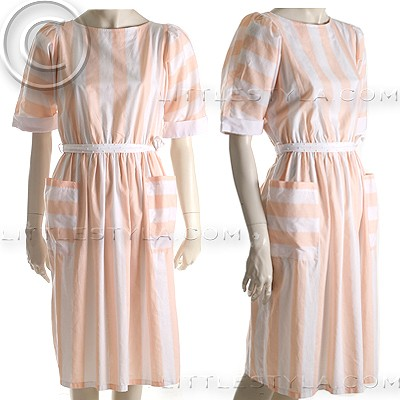 VAN-DYKE-Sz-10-Vintage-Apricot-White-Stripe-Day-Dress-Poly-Cotton-NEW