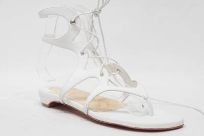 Christian Louboutin Girafina Gladiator White Flat Sandal Shoes 37 ...