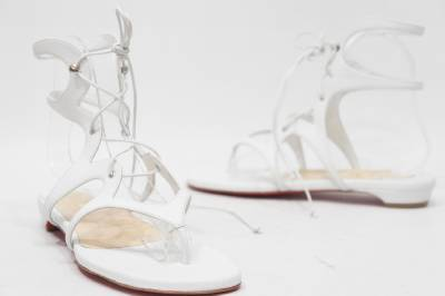 christian loubatan shoes - Christian Louboutin Girafina Gladiator White Flat Sandal Shoes 37 ...
