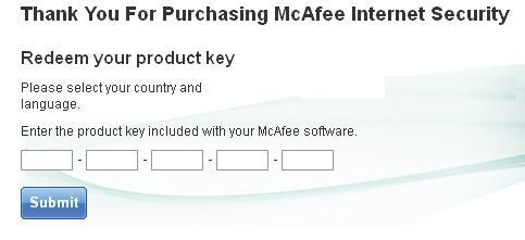 McAfee Retail Card Registration