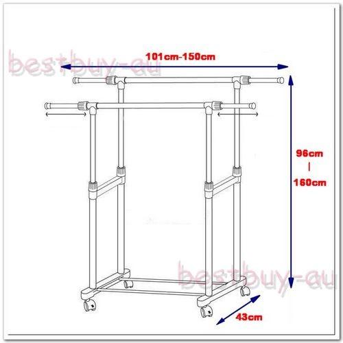 Double rails poles clothes hanger rack ikea style ebay for Clothes rail on wheels ikea