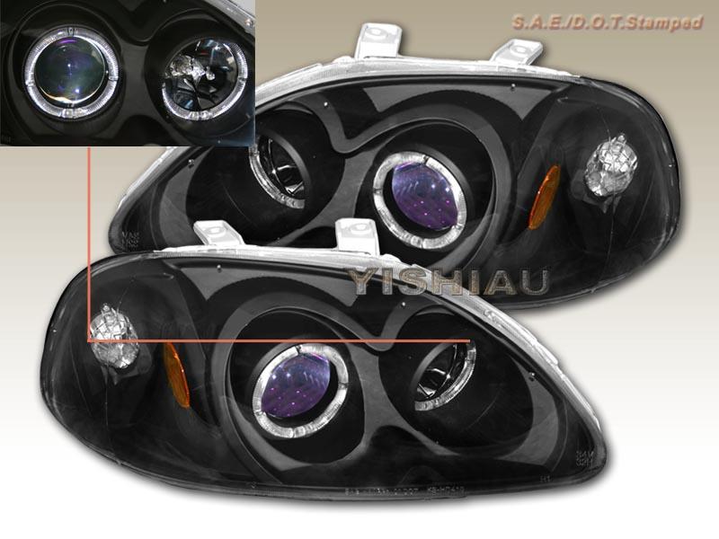Honda Civic Projector Headlights 99 00 7 96 97 98 Honda Civic Projector Headlights 2 Halo Bk Jdm on 2040-parts ...