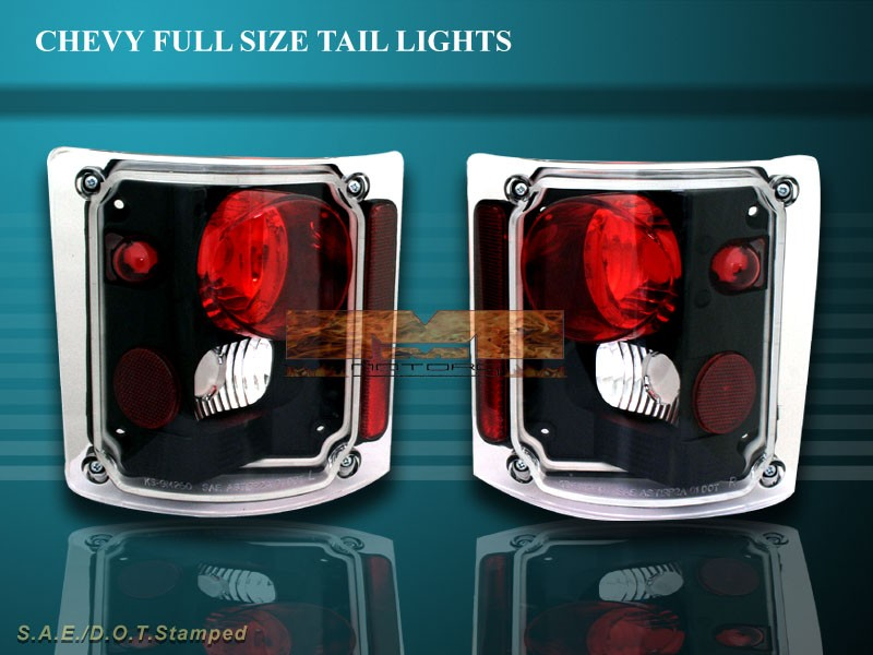 details about 73 87 chevy silverado truck tahoe tail lights blk 84 83. Black Bedroom Furniture Sets. Home Design Ideas