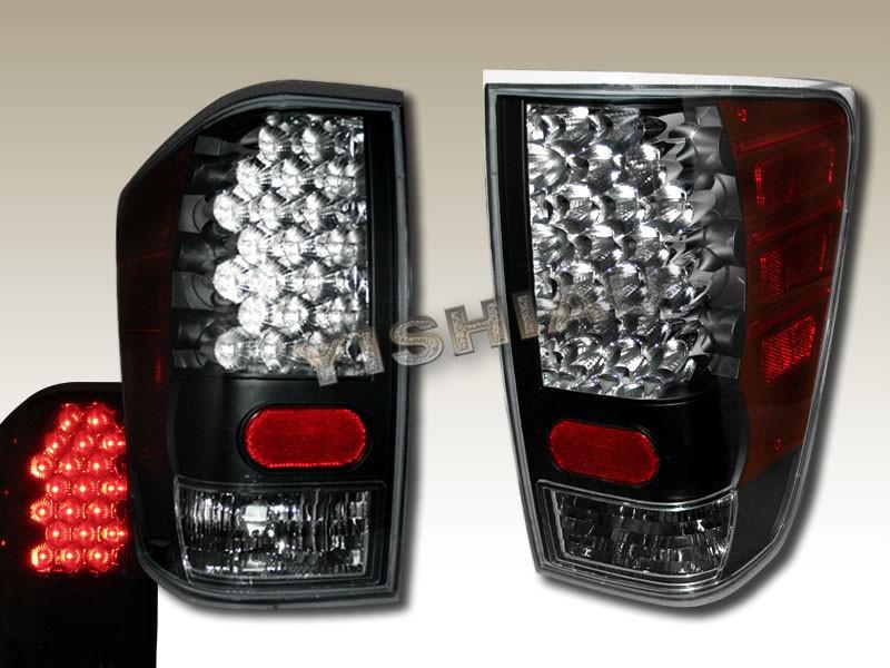 2004 2008 NISSAN TITAN LED TAIL LIGHTS LAMPS BLACK PAIR