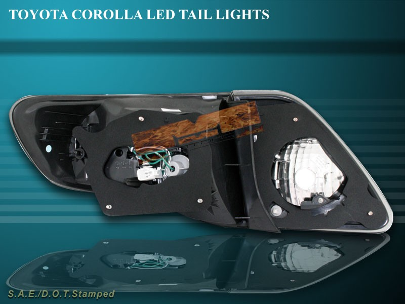 2009 toyota corolla smoke l e d tail lights led 09 new ebay. Black Bedroom Furniture Sets. Home Design Ideas