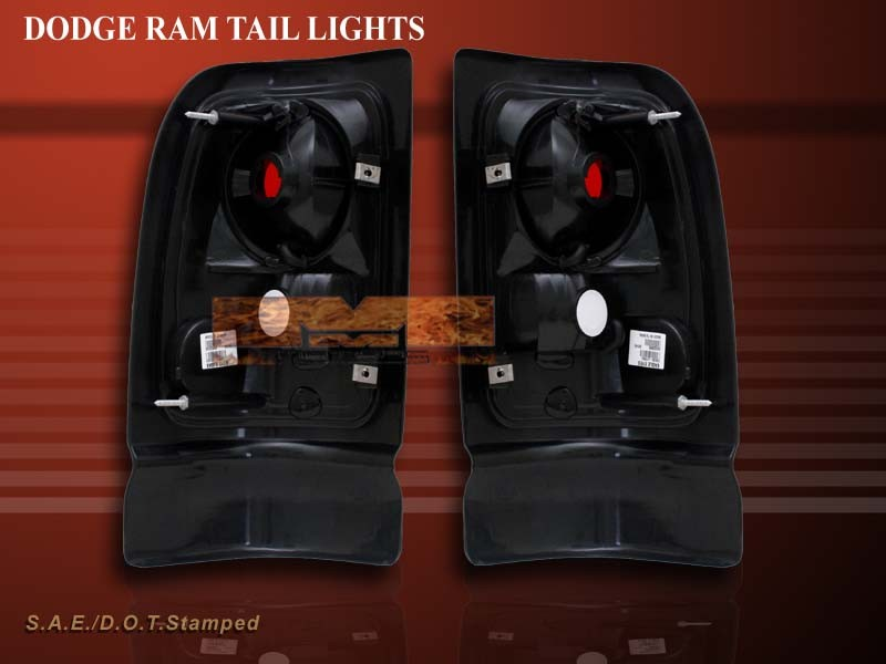 1994 2001 dodge ram 1500 2500 3500 pickup dark smoke tail lights. Black Bedroom Furniture Sets. Home Design Ideas