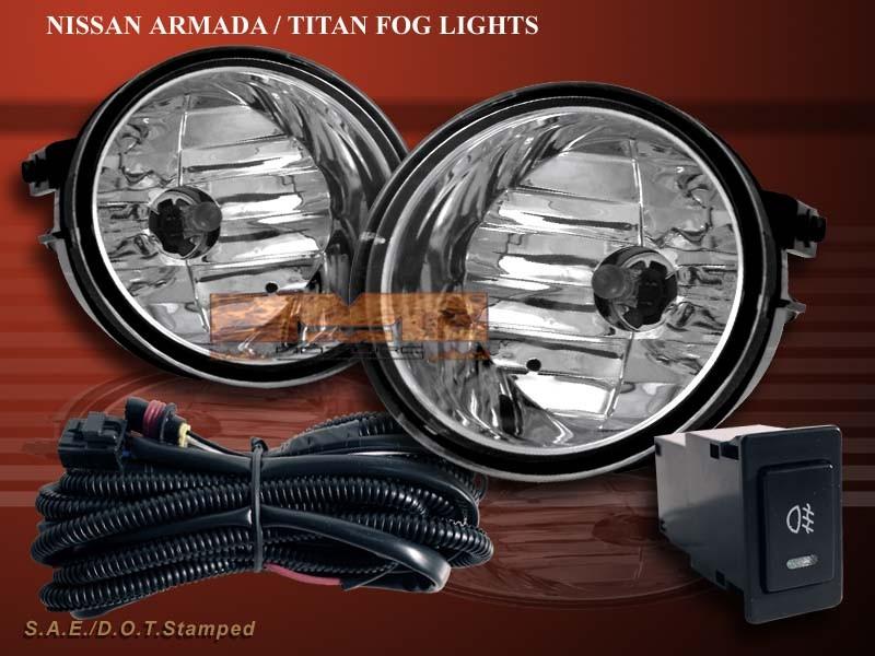 fit 04 08 titan 04 07 armada clear fog lights lh rh kit w switch ebay