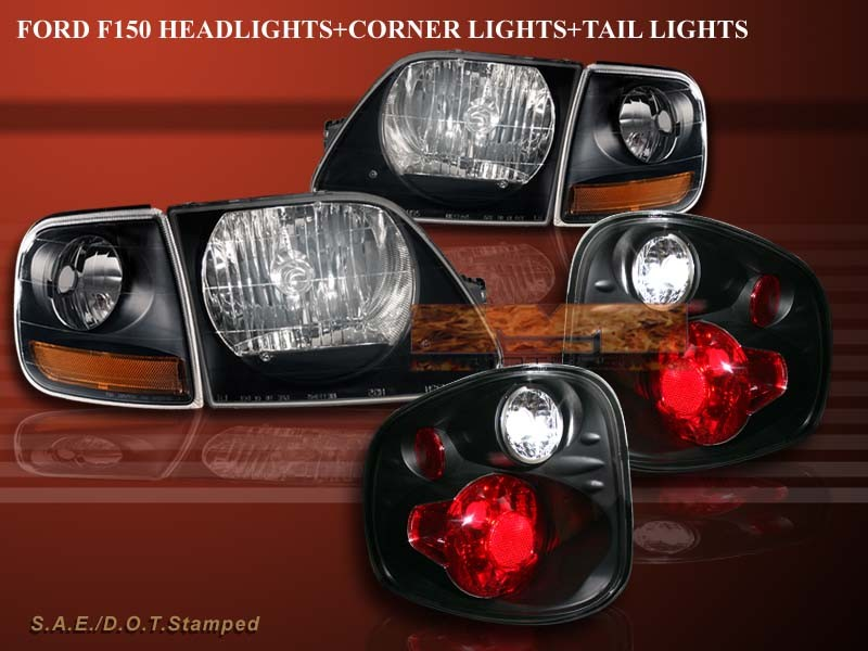 2001 2003 ford f 150 headlights black black corner lights flareside. Black Bedroom Furniture Sets. Home Design Ideas