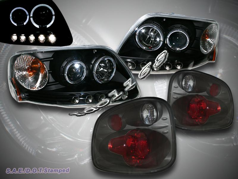 ford f150 flareside halo led blk projector headlights smoke tail ford. Black Bedroom Furniture Sets. Home Design Ideas