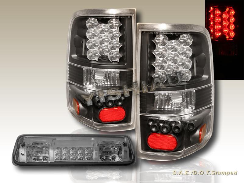 2006 2007 2008 ford f150 tail lights blk led smoke 3rd brake light led. Black Bedroom Furniture Sets. Home Design Ideas