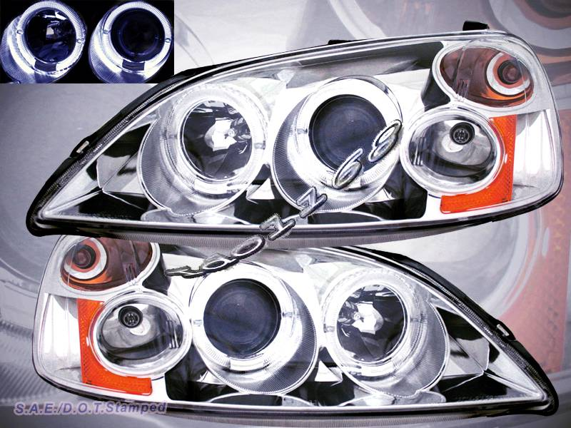 01 02 03 honda civic 4 door projector headlights chrome. Black Bedroom Furniture Sets. Home Design Ideas