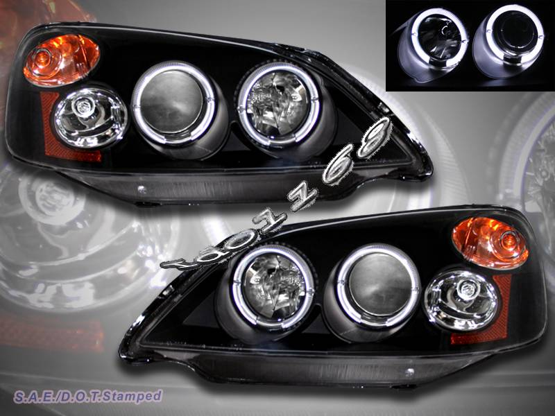 01 02 03 honda civic 4 door projector headlights blk 2halo. Black Bedroom Furniture Sets. Home Design Ideas