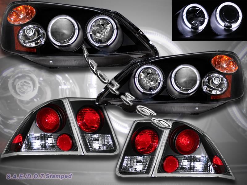 01 02 03 honda civic 4 door projector headlights blk 2halo for 01 honda civic 4 door