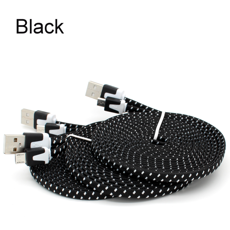 Flat Braided Cable : Ft flat braided micro usb charger cord cable for