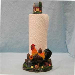 Rooster Clean Farm Life Paper Towel Holder Figurine Ebay