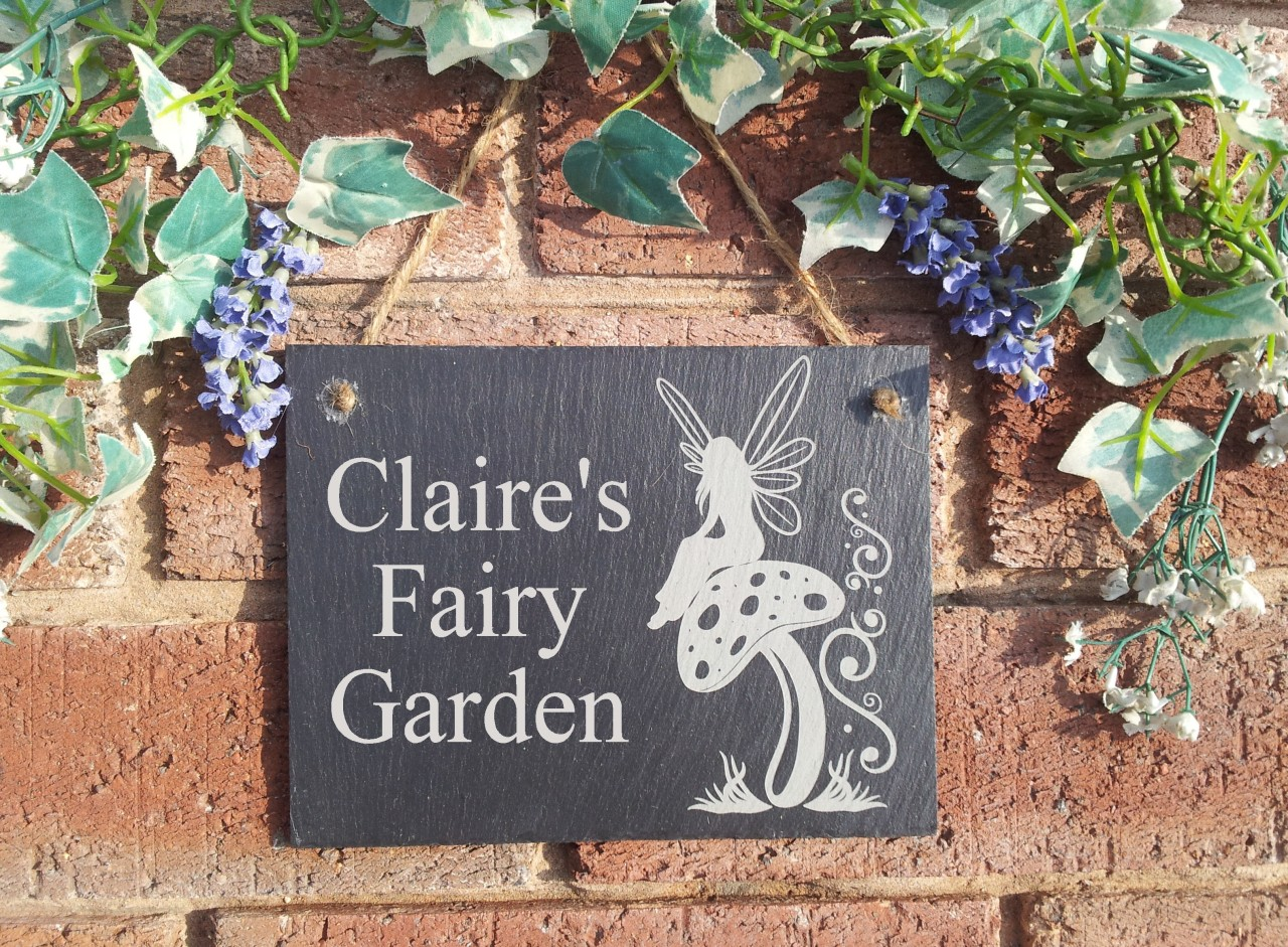 Personalised Natural Slate Fairy Garden Plaque Sign 13x17cm eBay