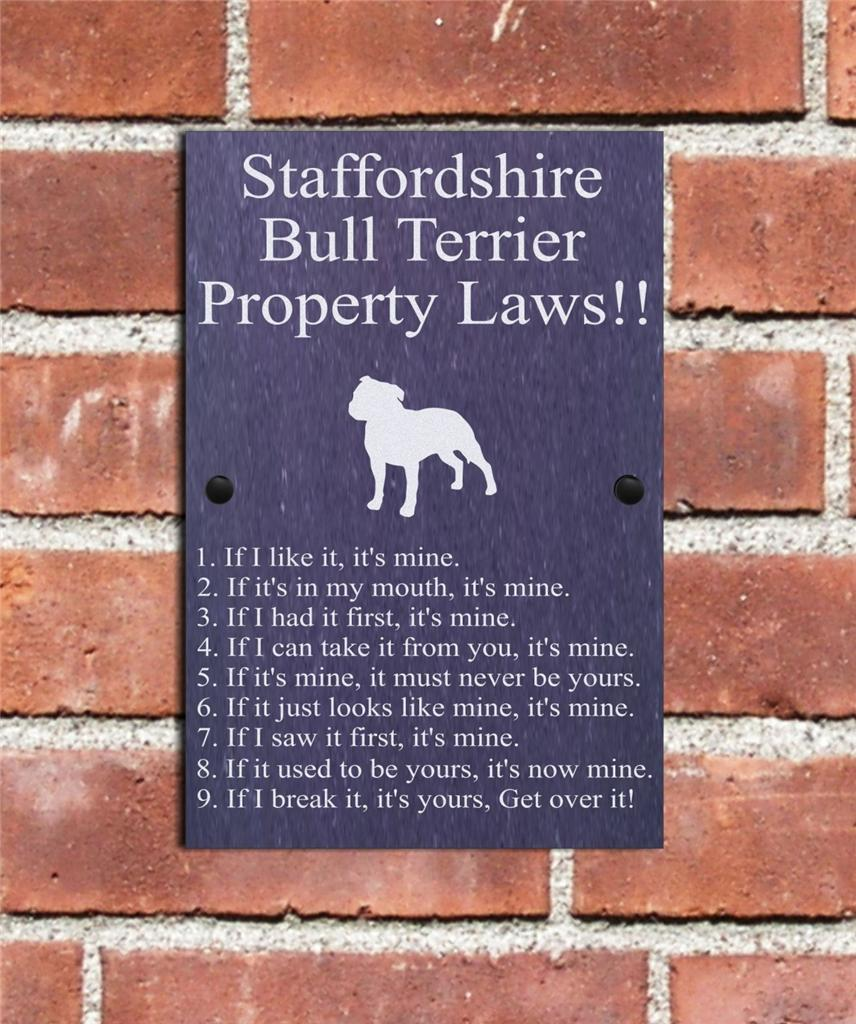 Funny-Natural-Slate-Dog-Kennel-Plaque-Staffordshire-Bull-Terrier ...