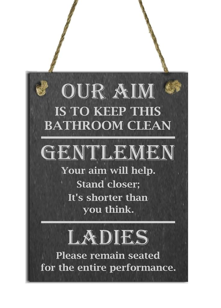 Funny-Natural-Slate-Toilet-Sign-Plaque-Our-Aim-
