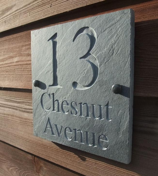 Engraved Natural Riven Slate House Door Sign Name
