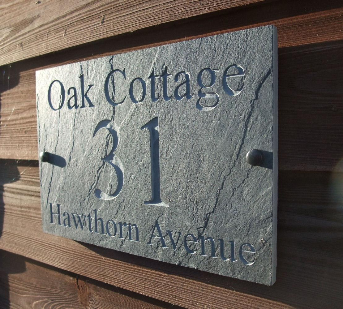 Deep engraved natural riven slate house door sign name for Contemporary house names