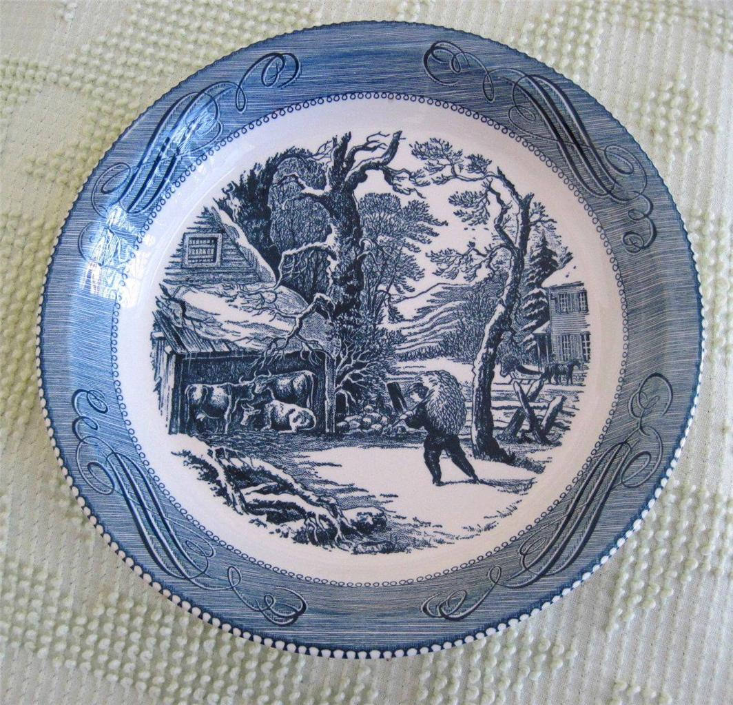 Royal china currier and ives 10 pie plate winter morning feeding the