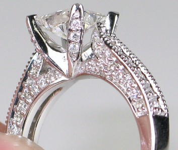 18k White Gold Designer CARESSA Diamond Engagement Ring Size 7 EBay