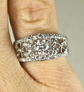 HiEnd 14k White Gold 1.48ctw H-SI2 Diamond Engagement Ring 6.5g Size 7