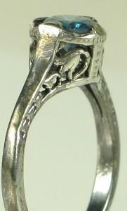 Art Deco Sterling Silver .50ct Genuine Blue Diamond Filigree Ring Size