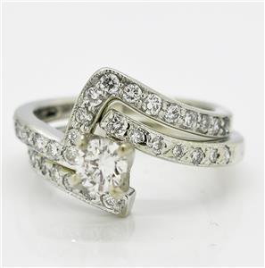 High End 14k White Gold G SI1 Genuine Diamond Wedding Ring Set