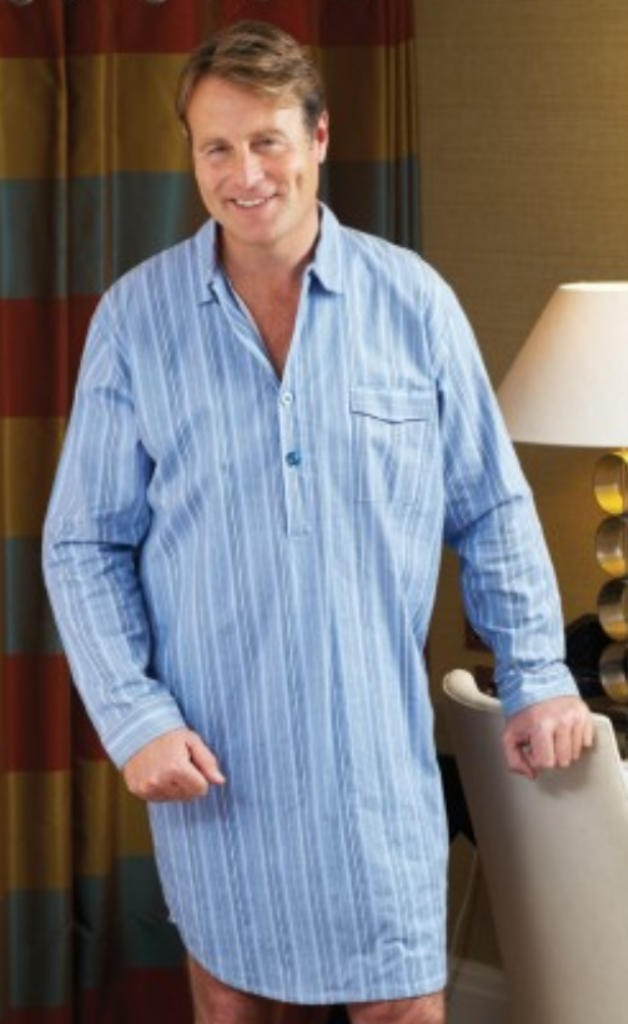 MENS-NIGHTSHIRT-BRUSHED-COTTON-BLUE-STRIPED