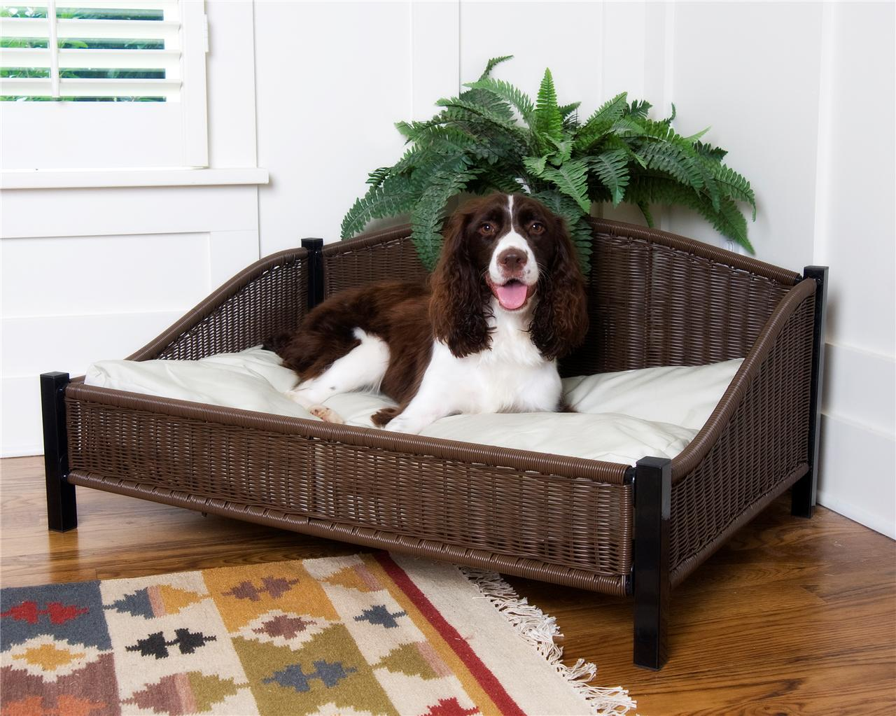 wicker dog bed with easy clean pet cushion soft pillow ebay. Black Bedroom Furniture Sets. Home Design Ideas