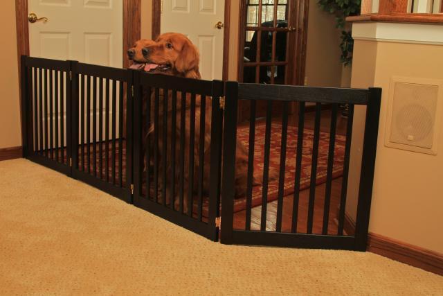 Details about DOG GATE wood FREESTANDING indoor barrier large dog 27 ...