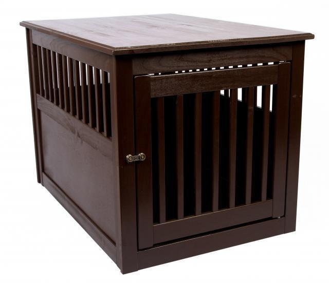 Wood Dog Crate End Table Furniture Pet Cage Indoor House Small Large Kennel