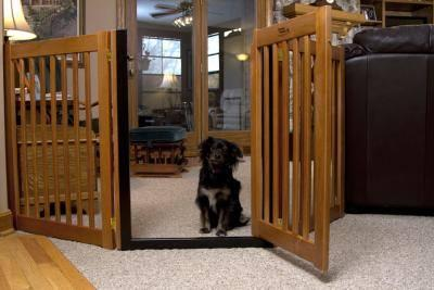 Wood Walk Thru Door Dog Gate Freestanding Expandable