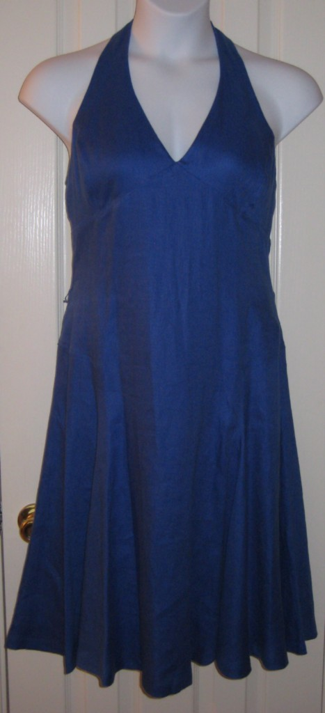 RALPH-LAUREN-BLUE-HALTER-DRESS-100-LINEN-NWT-189