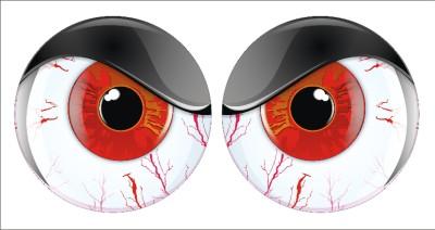 shotgun air intake hood scoop red mad eyes decal pair ebay