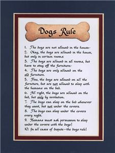 Humor Saying, Poem Funny Dog Rules Calligraphy  eBay