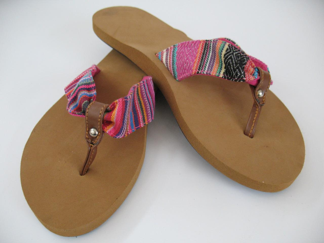 NEW Multi Color Fabric Strap Thong Flip Flops Sandals ...