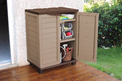 3ft plastic garden storage utility shed cabinet with - Brown plastic garden sheds ...