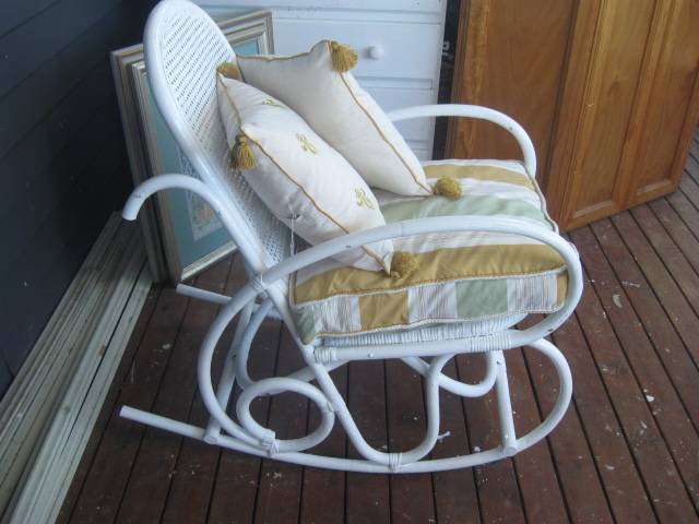 Provincial cane antique bentwood vintage rocking chair seat cushion