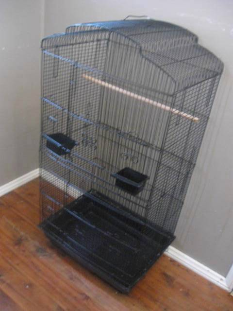 BLACK-METAL-STEEL-BIRD-ANIMAL-CAGE-6-DOOR-large-tall-FRENCH-PROVINCIAL-SCROLLY