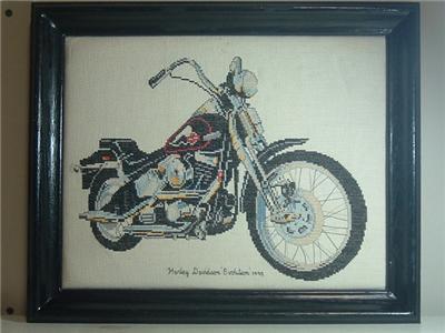 摩托车边框十字绣图片