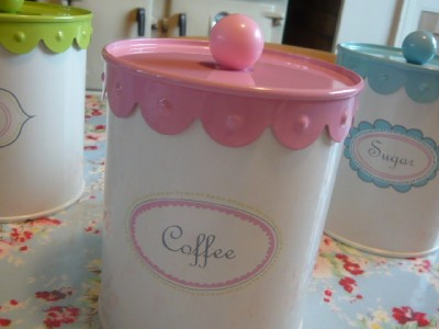 Vintage tea coffee sugar jars canisters retro pink blue green kitchen storage ebay - Pink tea and coffee canisters ...