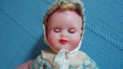 "Vintage Hard Plastic Baby Boy Doll 5"" Made Italy Sleep Eyes Jointed Limbs Cute"