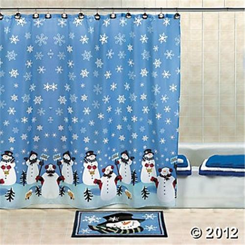 snowman shower curtain christmas bathroom winter snow decor xmas bath accent ebay. Black Bedroom Furniture Sets. Home Design Ideas