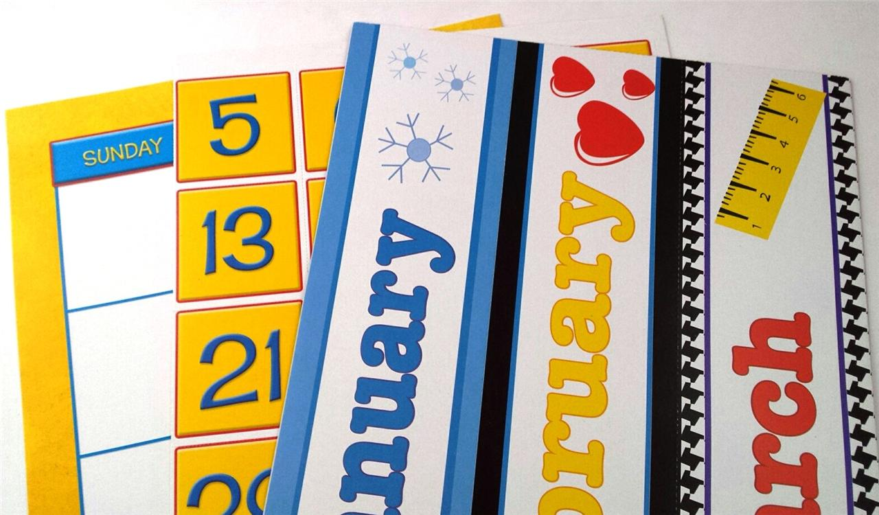 Calendar Monthly Headers : Calendar set bulletin board monthly headers dates
