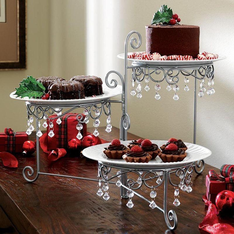 new 3 tier swivel beaded triple dessert party buffett server display stand ebay. Black Bedroom Furniture Sets. Home Design Ideas