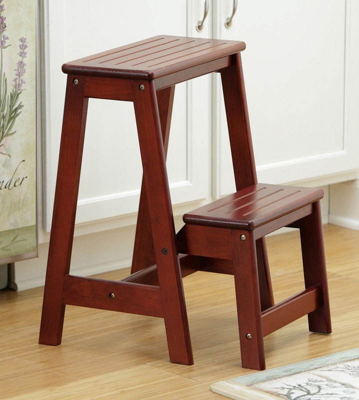 New Poratable Folding Cherry Wood Step Stool Ladder Seat Ebay